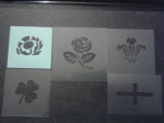 5 x National emblem face painting stencils reusable many times shamrock George Cross Welsh Feather English rose Scottish thistle 6 Nations rugby